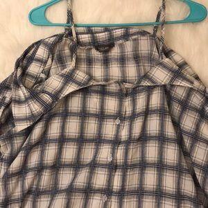 Tops - Off the shoulder Plaid Top